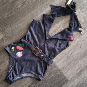 Unicorn Playsuit Bodysuit Rainbow Stretch Denim